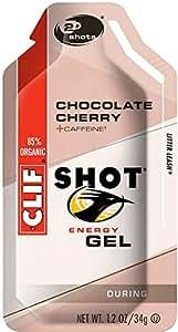 CLIF SHOT Chocolate Cherry w/ Caffeine Gel - Box of 24 - turbo chocolate cherry, 24 pack