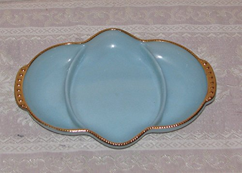 (Vintage Anchor Hocking Fire King Delphite Blue Turquoise Divided Relish Dish)