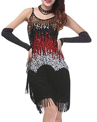 Da Ballo Rosso Abito Penggenga Donna Danza Latino Nappe Tango Rumba Nero Lustrino Costume Valzer b76Yfyvg