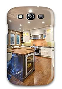 Ideal Case Cover For Galaxy S3(eclectic Curved Brown Kitchen Island With Wine Cooler), Protective Stylish Case