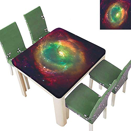 Printsonne Polyester Table Cloth Horiz tal Dusty Gas Cloud Nebula Image Stars aga st Space Green Red Table 50 x 50 Inch (Elastic Edge) (St Cloud Dominoes)