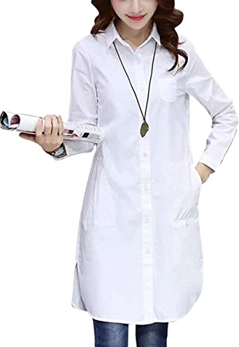 Camisa Larga De Color Sólido Elegante para Mujer Botón Camisa ...