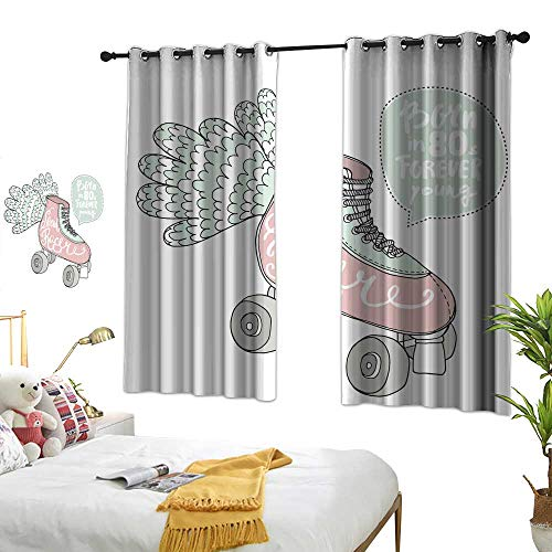 - Creative and Diverse Interior and Exterior Curtains Hand Drawn Illustration with Retro Rollers Speed Racer Handwritten Text Customized Personalized Soft Light Blocking W84.2 xL72