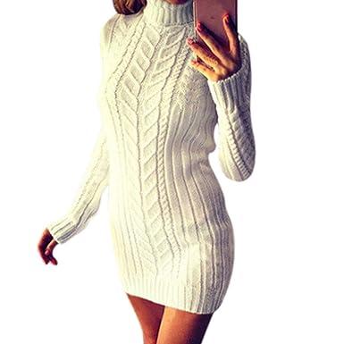 649b7ce985a Xinantime Chandail Robe Femmes Robe à Manches Longues et col Haut Automne  et Hiver Mode Dames