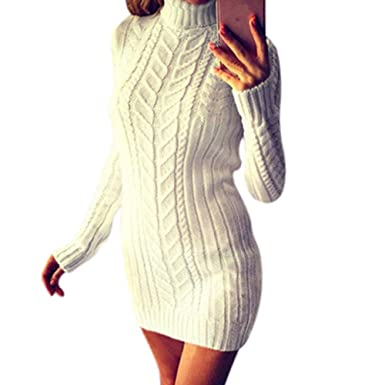 2f513ba1336e 99native Robe Ras du Cou pour Femme,Pull Chaud d hiver Chic Casual Mode