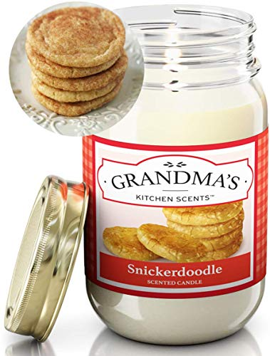 Snickerdoodle Scented Candles for Home | Non Toxic Long Lasting Soy Candles | Delicious Scent | Large 16 oz Mason Jar | Hand Made in The USA
