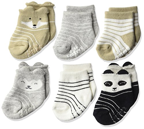 Carter's Baby Boys' Crew Socks (6 Pack), Cream/Grey/Black, 0-3 Month