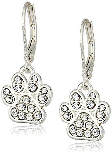 Pet Friends Silvertone/Pave Paw Drop Earrings, Silver (Puppy Dangle Earrings)