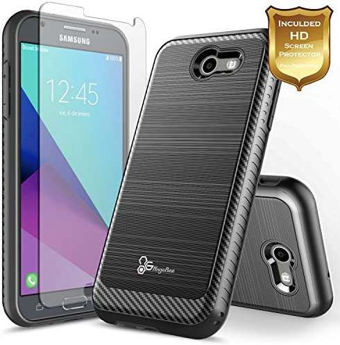 Galaxy J7 Prime Case J7 Sky Pro J7 PerxHalo J7 V (Verizon) J7 2017 (J727)Screen Protector NageBee Carbon Fiber Brushed Shockproof Defender Dual Layer Hybrid Case (Black) / Galaxy J7 Prime Case J7 Sky Pro J7 PerxHalo J7 V (Verizon) ...