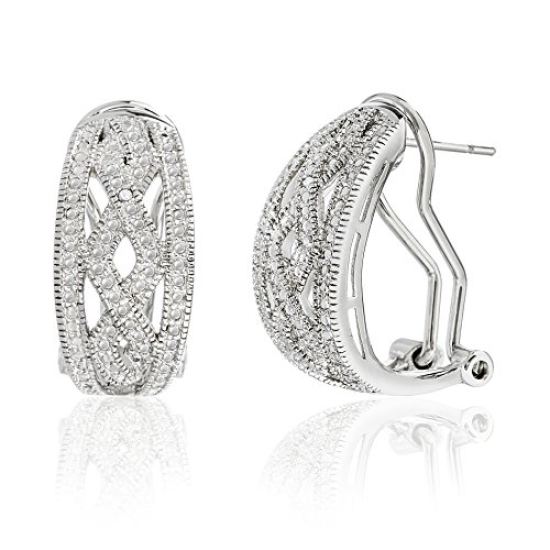 Lumineux Diamond Womens Diamond Accent Criss Cross Hoop Earrings in Rhodium over Brass - Diamond Accent Criss Cross Ring