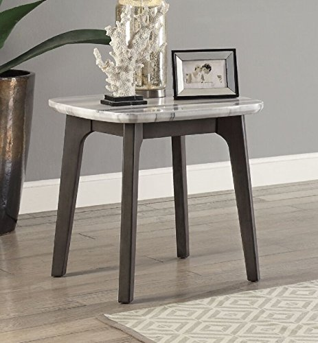 "Major-Q 22"" H Mid-Century Style Marble Top wtih Wood Apron Living Room End Table in Gray Oak (9083012)"