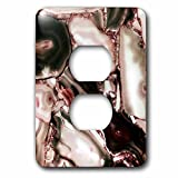 3dRose Uta Naumann Faux Glitter Pattern - Image of Trendy Luxury Dark Quartz Malachite Gemstone Agate Geode - Light Switch Covers - 2 plug outlet cover (lsp_275128_6)