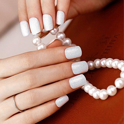 Art plus 24 uñas postizas manicura francesa Full Cover elegante nieve Sparkle Mediano longitud con pegamento uñas postizas: Amazon.es: Belleza