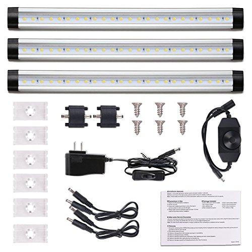 Case Natural Light - Double-K LED Under Cabinet Lighting, 12W 1000lm Under Counter Lighting Natural White 4000-4500K Kitchen Counter Cabinet Lighting with Power Adapter, 3 Pack