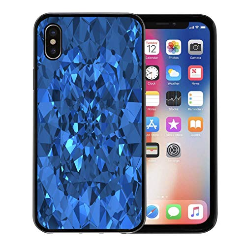 - Semtomn Phone Case for Apple iPhone Xs case,Sapphire Blue Sparkling Diamonds Bling Stone Jewel Ring Crystal for iPhone X Case,Rubber Border Protective Case,Black