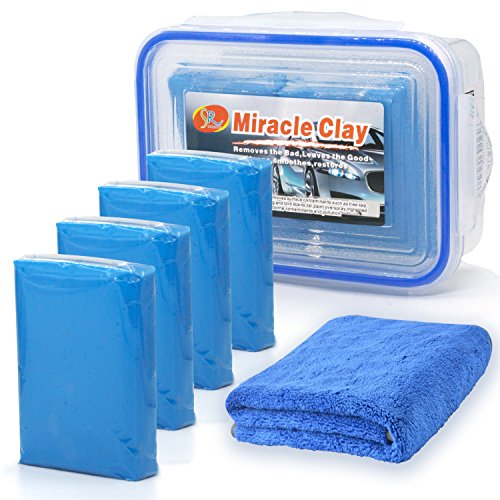 Senrokes Clay Bar Car Detailing Clay - Clay Bars Magic Clay Bar 4 Pack x 100g Auto Wash Bar with Washing and Adsorption Capacity for Car, Glass, Vehicles and Much More Cleaning, Towel Included