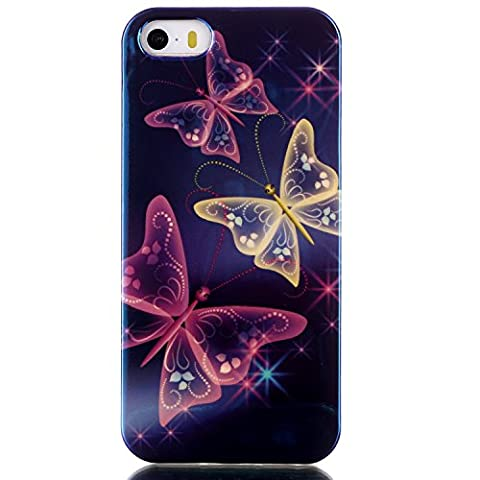 IKASEFU Silicone Case for iPhone 5SE/5S/5,Special[Blue Light]Pretty Purple Butterfly Soft Slim Scratche-Resistant Rubber Gel Case Cover for iPhone 5SE/5S/5-Purple (5s Cases Special)