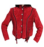Classyak Women's Fringed Top Quality Suede Leather Coat Suede Red 4X-Large