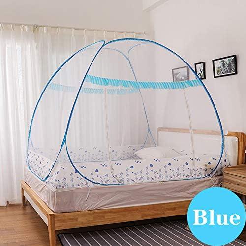 折りたたみ式 パオ 蚊帳、 ポップアップドーム 両開き キャンプ テント、 ポータブル 暗号化 最高の穴 虫よけ ホームキャンプアウトドア用、 無料インストール,Blue 3,1.5m