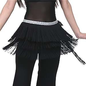 Dance Fairy Belly Dance Tasselss Hip Scarf Skirt Belt,Black