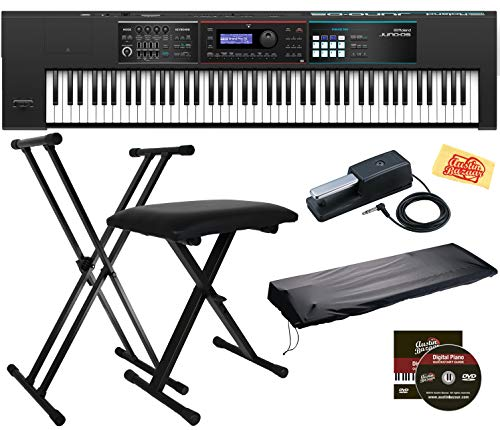 Roland Juno DS-88 Synthesizer Bundle with Roland DP-10 Damper Pedal, Adjustable Stand, Bench, Dust Cover, Austin Bazaar…