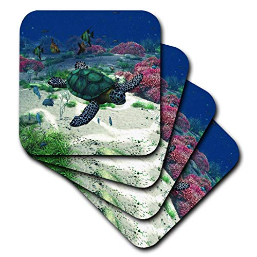 - 3dRose Sea Turtle Swims Through The Ocean with Tropic Fishes Corals and More - Ceramic Tile Coasters, Set of 4 (CST_172910_3)