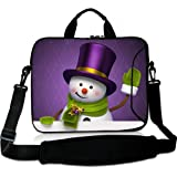 Wondertify 17-17.3 Inch Waterproof Neoprene Laptop Shoulder Bag Briefcase - Cute Purple Hat Snowman Protective Bag Carrying Case for Macbook/Tablet/Laptop/Notebook/ASUS/Samsung/Lenovo/HP/Dell