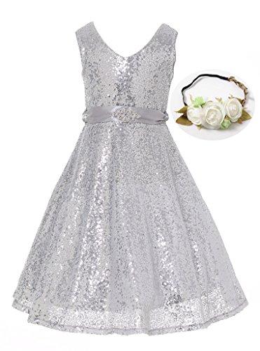 Bow Dream Lovely Lace V-Neck Flower Girl Dress Sequins Silver 10