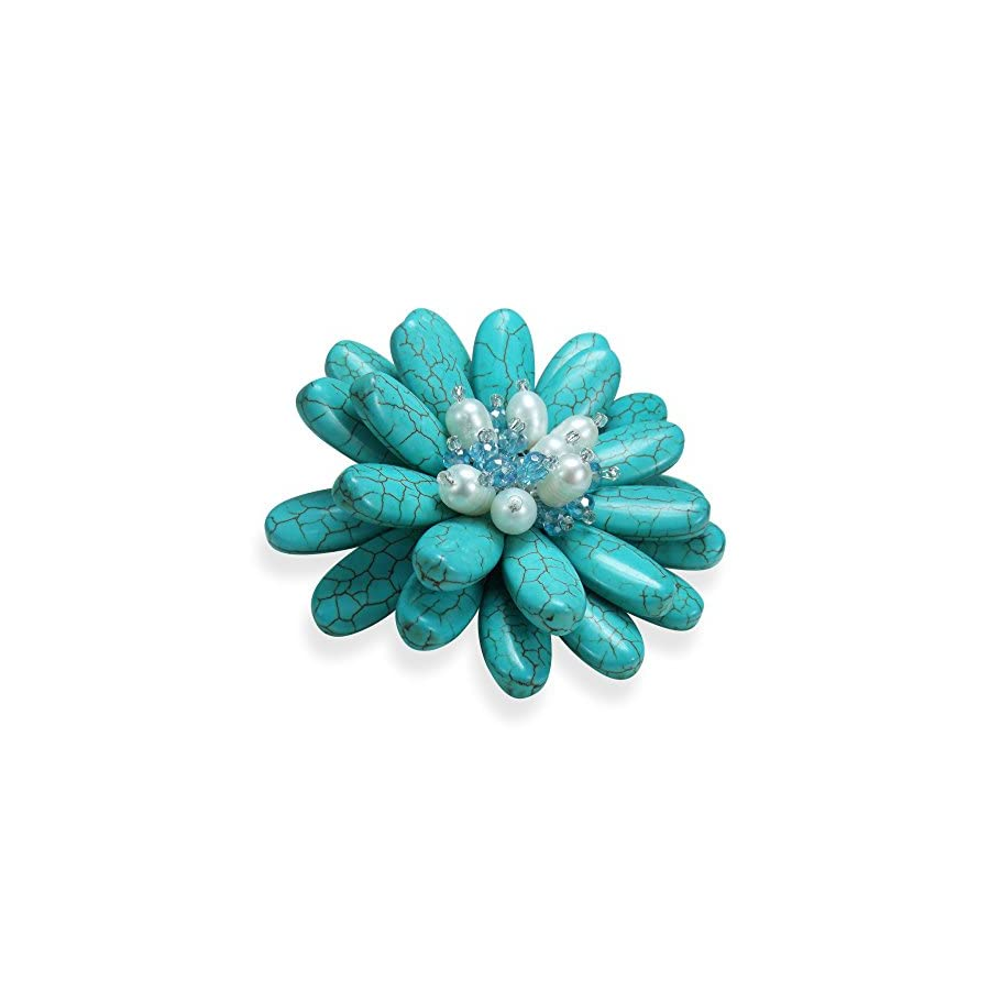 Double Sunflower Simulated Turquoise and Cultured Freshwater White Pearl Floral Pin or Brooch
