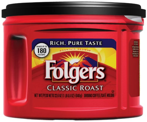Folgers Classic Roast Medium Roast Ground Coffee, 22.6 Ounces (Pack of 6), Packaging May Vary