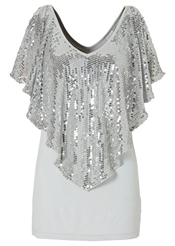 Withchic Grey Sequin Patchwork V Neck Cape Sleeve T-shirt Women Basic Top (Las Vegas Themed Prom)
