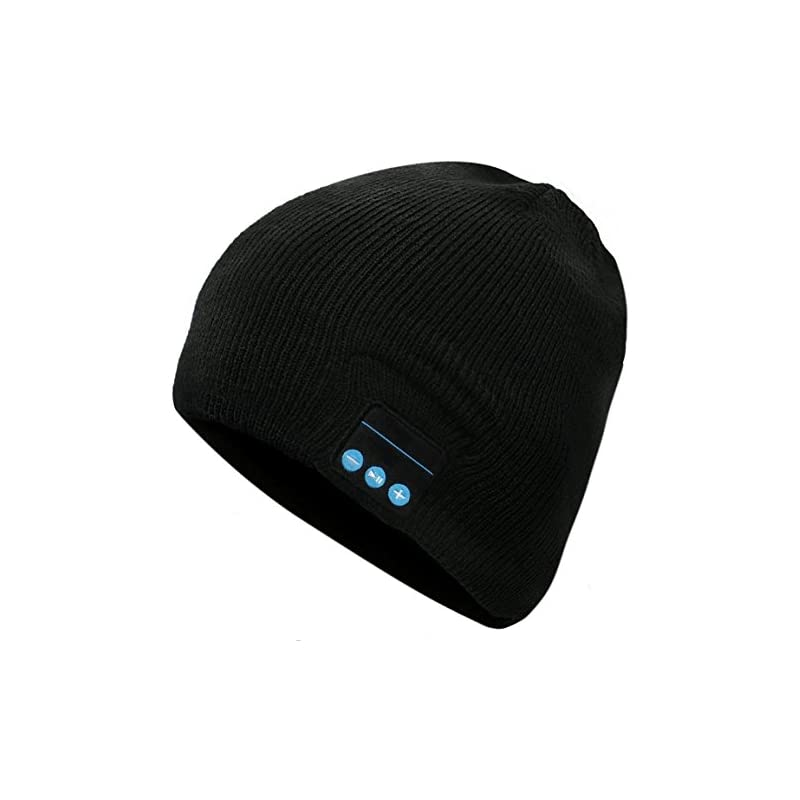 Bluetooth Beanie Hat, Wireless Knit Hat Music Cap with Stereo Speakerphone Headset Earphone Speaker Mic Phone Call for Fitness Running Skiing Skating Walking - Black