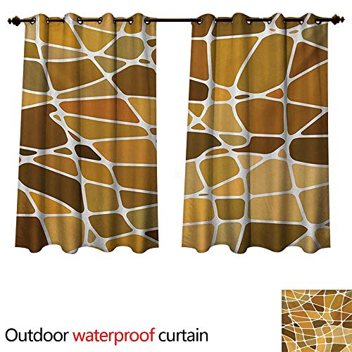d Brown Outdoor Curtain for Patio Stained Glass Style Mosaic with Colorful and Abstract Pieces Fractal Pattern W55 x L45(140cm x 115cm) ()