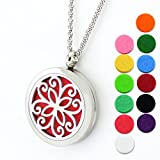 Lademayh Essential Oils Diffuser Necklace, 30mm Round Aromatherapy Pendant Locket Jewelry with 2pcs 24'' Chains & 10Pads, Stainless Steel Perfume Necklace