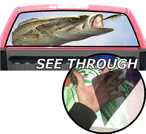 Perforated Fish (P413 Bass Fishing Fish Tint Perforated Rear Window Decal 65