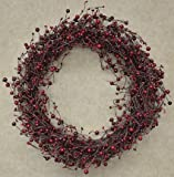 CWI Gifts Wreath - 20'' Country Berry Pips Burgundy Red - Rustic Primitive