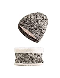 JJAI Winter Warm Knitted Beanie for Girls Cotton Lined Hat and Scarf Set (Light Coffee)