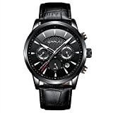 Fashion Quartz Analog Chronograph Watches Mens Sport Wrist Watch Black Leather Strap with Date