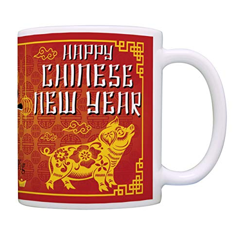 Chinese New Year Pig Cup Happy New Year Of the Pig 2019 Coffee Mug Gift Coffee Mug Tea Cup Red