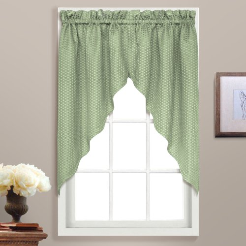 United Curtain Hamden Woven Waffle Swags, 55 by 38-Inch, Sage, Set of 2
