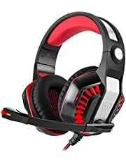 Beexcellent GM-2 3.5mm Over-ear Headphone Gaming Headset Earphone Headband with Microphone LED Light for PS4 Xbox One Laptop Tablet Mobile Phones