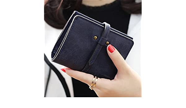 Amazon.com : JD Million shop Solid Vintage Women Wallet Fashion Small Female Card Holder Mini Carteras Mujer Femininas Purse (Navy Blue) : Everything Else