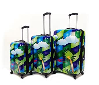 Heys USA Luggage Feng Shui 3 Piece Hardside Spinner Set, Palm Tree, One Size