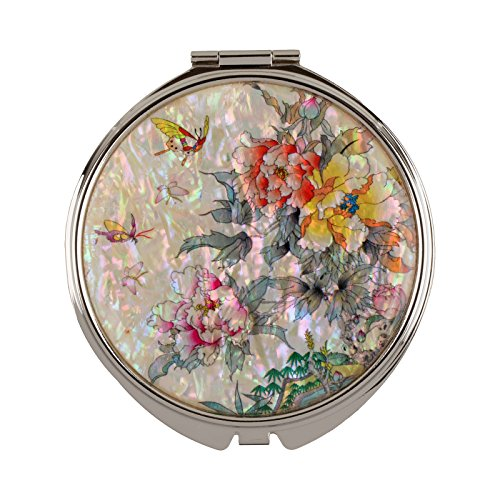 Compact Mirror Magnifying Make Up Double Sided Mother Of Pearl Flower Mms18