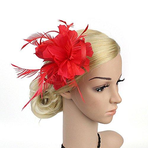 VACIGODEN Women Fascinator Flax Hair Clip Feather Barrette Hairpin Headband Cocktail Hat