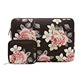 Mosiso Canvas Fabric Rose Pattern Laptop Sleeve Bag Cover for 13-13.5 Inch MacBook Pro, MacBook Air, Surface Book, Notebook Computer with Small Case, Black