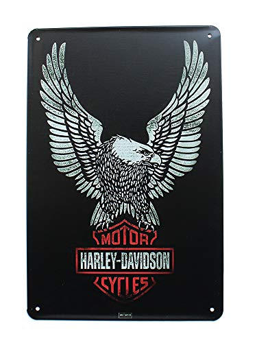 K&H Solid Black Harley Davidson Motorcycle Retro Distressed Metal Tin Sign Posters Wall Decor 12X8-Inch (American Eagle) ()
