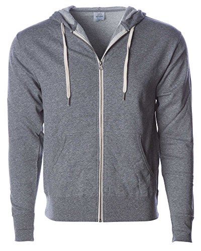 - Global Slim Fit French Terry Lightweight Zip Up Hoodie Men and Women Grey 3XL