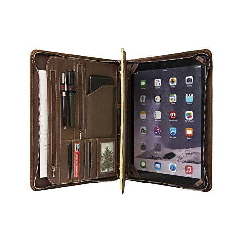 Vintage Crazy-horse Leather Portfolio for iPad Pro 9.7/iPad Air, Handmade Padfolio Case Business Zippered Organizer Document Folder with Letter Size Notepad, Travel Portfolio Carry Case by Hifriend