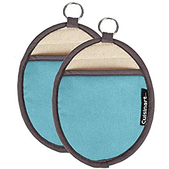 Cuisinart Silicone Oval Pot Holders and Oven Mitts - Heat Resistant, Handle Hot Oven / Cooking Items Safely - Soft Insulated Pockets, Non-Slip Grip and Convenient Hanging Loop- Aqua, Pack of 2 Mitts